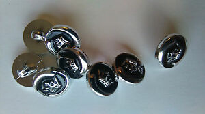 10 X BLACK AND  SLIVER   BUTTONS 12MM