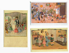 Puppen Geburtstag Hochzeit Pauli Ebner 3 Künstler-Postkarten m. Umschlag Reprint