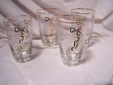 4pc Set ~ Vintage Libbey Glass ~ Rose Classic  Drinking Glass Tumbler  Beverage
