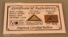 ACB 24k Fine 99.99 Gold 5Grain Pyramid bar with Certificate of Authenticity <