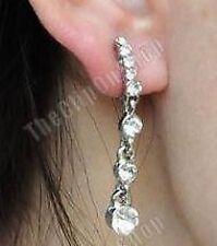 CLIP ON diamante CRYSTAL 4cm long DROP EARRINGS sparkly