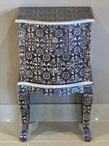 Blackened Metal Embossed Small Bedside Cabinet Chest of Drawers Bedroom