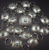 Vintage NAVAJO Hand Stamped Sterling Silver & TURQUOISE Square Concho BELT 36""