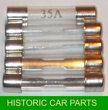Set of 5 x 35 amp Glass Fuses 35amp - for 1950-70s vehicles Fuse