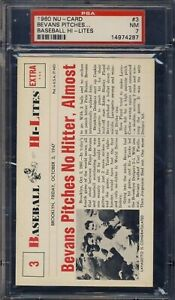 1960 Nu-Card  #3 Bevan's Pitches No Hitter New York Yankee's - Jumbo Card PSA 7