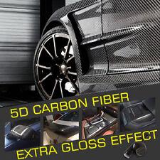 152cm  x 3M Black 5D Super Gloss Carbon Fibre Car Vinyl Wrap Decal Sticker