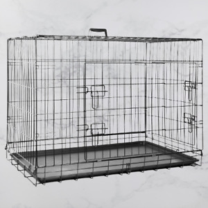 """36"""" Heavy Duty Pet Cage Crate Foldable Bed Dog Puppy 2 Doors 90cm x 59cm x 67cm"""