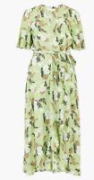 M&S Per Una Fern Print Midi Wrap Dress Size 10 Green Mix Floral Leaf NEW