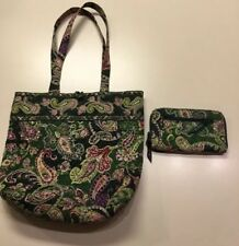 Vera Bradley Women's Tote Shoulder Bag Chelsea Green Retired W/ Matching Wallet
