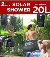 2 x Portable 20L Solar Heated Camping Shower Outdoor Camp Hiking PVC Water Bag