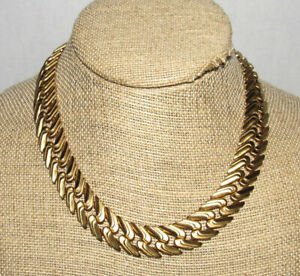 Vintage Monet Gold Tone Chain Link Choker Necklace Signed