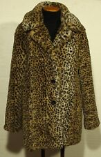 women's faux fur leopard print coat jacket size MEDIUM