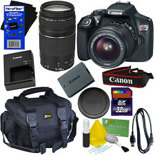 Canon EOS Rebel T6 DSLR Camera w/18-55mm IS II & 75-300mm Lenses +Case +32GB Kit