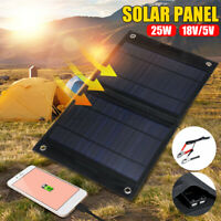 Portable Solar Panel 25W DC18/5V Sun-Power Battery Charger Boat Campin