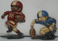 Vintage Two Homco Metal Wall Art Football Players Retired Collectible 1976 Usa