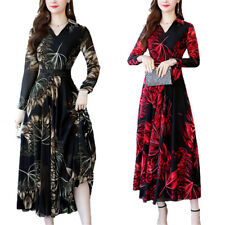 Womens Floral V Neck Long Sleeve Swing Midi Dress Casual Evening Party Dresses