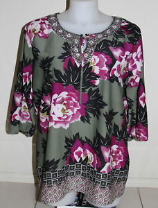 Womens size 18 pretty floral print shirt made by MILLERS - beading detail
