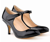 Women Mid Kitten Heels Ankle Strap Pumps Faux Leather Sexy Cocktail Party Shoes