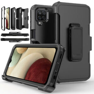 For Samsung Galaxy A12 Shockproof Case Rugged Hard Cover Stand Belt Clip Holster