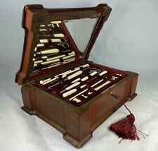 Antique French Napoleon III Era Sewing Box with Implements, Silk Winders, Knit
