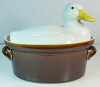 Vintage Hall Carbone 1 Quart Oval Covered Casserole White Duck Lid on Brown Base