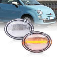 Clear Lens Amber Led Side Marker Light for 07-19 Fiat 500 500e 500c Abarth 2X