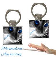 Personalised Holographic Cat Name Finger Holder Ring 360° Grip Any Mobile Phone