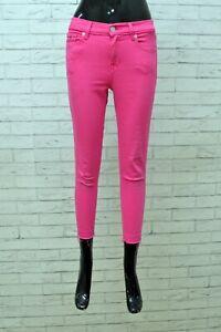 Pantalone Donna Tommy Hilfiger Taglia 42 Cotone Elastico Fucsia Jeans Pants