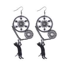 Halloween Long Black Cat Vintage Acrylic Punk Black Dangle Steampunk Earrings