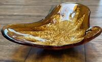 VINTAGE MURANO ART GLASS MID CENTURY AMBER &   WHITE BOWL 3X9X6.5 INCH VG