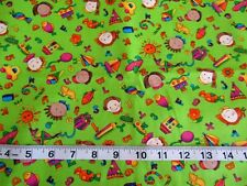 Hoffman Mischief Makers Cotton Fabric Quilt Crafts Child Baby Mint Green BTHY