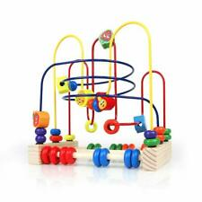 Beads Maze Wooden Circle Toys Colorful Fruit Theme Roller Coaster Game for Kids