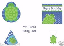 Mr Turtle Birthday Party Set, Hats, Plates, Napkins, Cello Bags, Baby Turtle Lot
