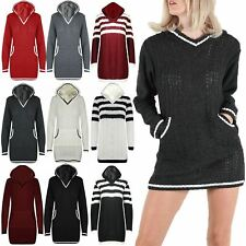 Ladies Mini Dress Womens Striped Hoodie Pockets Cable Chunky Knitted Long Jumper