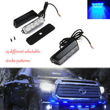 1PC Blue Patrol Vehicle LED Side Marker Emergency Strobe Lights Deck Dash Grille