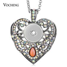 10pcs/lot Snap Charms Necklace 18mm Heart with Stainless Steel Chain NN-601*10