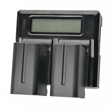 Dual Battery Charger + LCD for Sony NP-F330 F550 F750 F960 F970 JVC V607u V617u