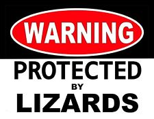 Metal Magnet Warning Protected By Lizards Humor Reptile Lizard Reptiles Magnet