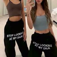 Funny Hip Hop Sweatpants Stop Looking At My Di' Street Wear Jogging Casual New