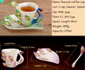 Colorful Peacock Enamel Porcelain Creative Mug w/ Saucer & Spoon Drink-ware Set