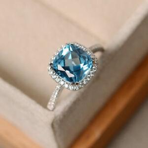 2.70 Ct Topaz Diamond Engagement Ring Cushion Cut 14K White Gold Size 6 7 7.5 8