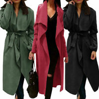 Long Trench Coat Ladies Jacket Women Outwear Winter Italian Design Warm Belted