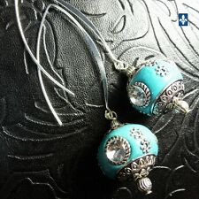 ♥  Gorgeous Elegant Turquoise Bead -  Strass & Silver Plated Earrings