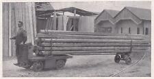 D4829 Carrello elettrico munito di prolunga - Stampa d'epoca - 1935 old print