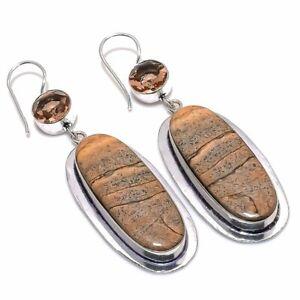 "Picture Jasper, Morganite Ethnic Gemstone Handmade Jewelry Earring 2.88"" RL-4833"