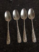 Stieff Rose Pattern Sterling Silver Teaspoons / Dessert Spoons Set Of 4
