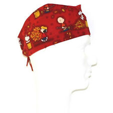Peanuts Gang Snoopy Woodstock Fallk theme on brown scrub hat