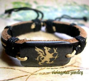 Men Rare Flying Dinosaur Yak Bone Fashion Leather Characters Bracelet Wristband