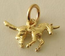 GENUINE SOLID 9K 9ct YELLOW GOLD 3D UNICORN  ANIMAL GIFT CHARM/PENDANT