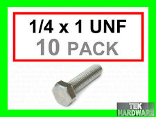 """Stainless Steel UNF Imperial Hex Head Bolts (Setscrews) 1/4 x 1""""  10Pk"""